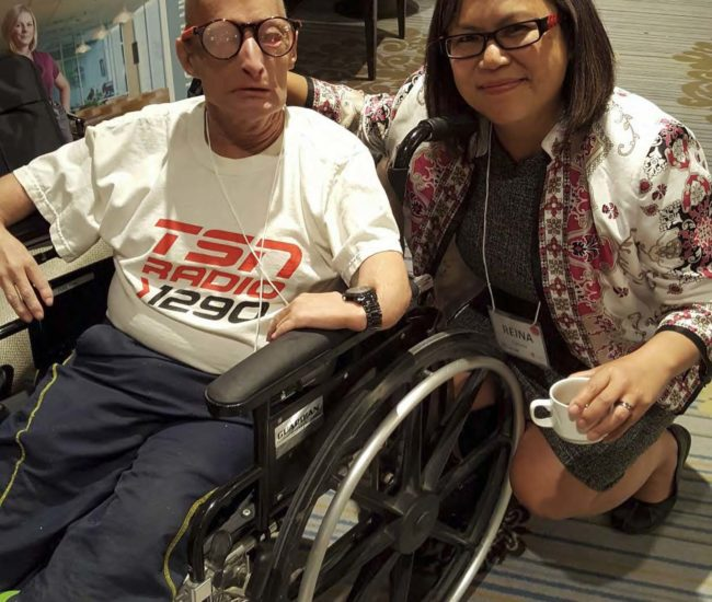 Scott Klassen (in wheelchair) with Reina Soltis (after the photos with me and Scott).